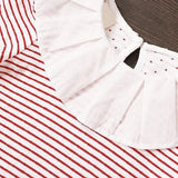 Long Sleeve Red & White Striped Black Dress