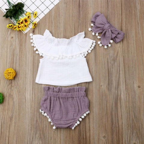 3 Pcs Shirt & Shorts Set