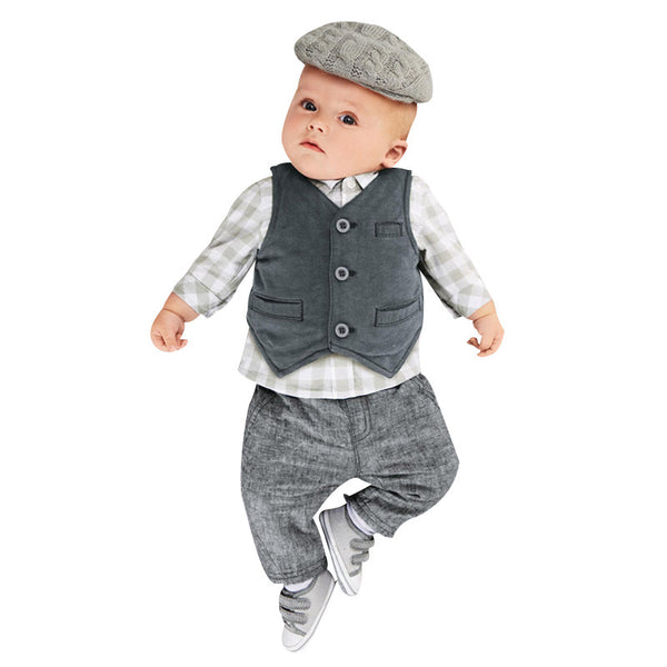 3 Pcs Grey Handsome Little Man Outfit