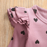 Little Hearts Polka Dot Long Sleeve 1 Pc Playsuit