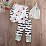 3 Pcs Cute Unicorn Jumpsuit Romper Set