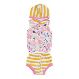 2 Pcs Hooded Flowers Romper & Striped Shorts