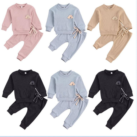 Embroidered Rainbow 2 Pcs Sweatshirt & Drawstring Pants