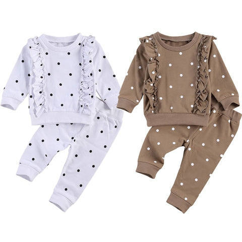 Polka Dot 2 Pcs Long Sleeve Ruffled Outfit