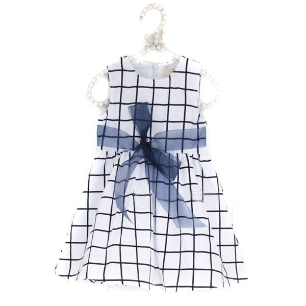 White / Black Grid Sleeveless Casual Dress