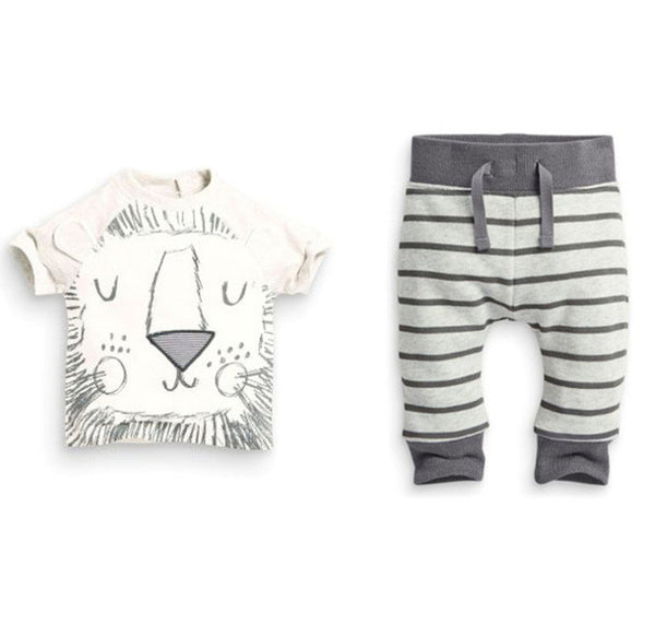 Baby Lion 2 Pcs White / Grey Outfit