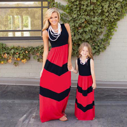 Red / Black Striped Matching Mommy Daughter Dress