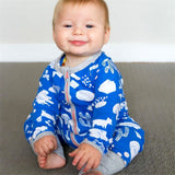 Sky Blue Cloudy Day Romper Pajama Set