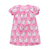 Pretty In Pink Little Bird Print Dress