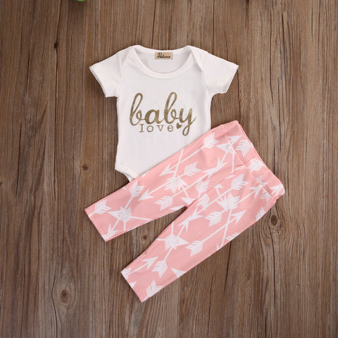 2 Pcs Baby Love Pink Arrow Pants Outfit