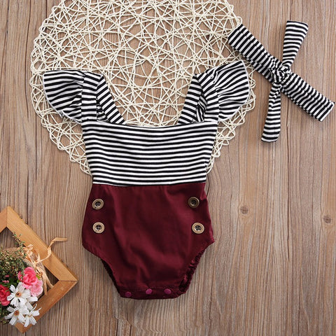 2 Pcs Striped Ruffles Romper