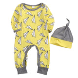 2 Pcs Paper Planes Yellow Romper & Hat Baby Outfit