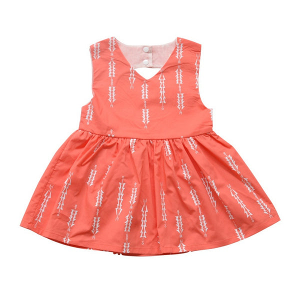 Sleeveless Pink Girls Summer Print Dress