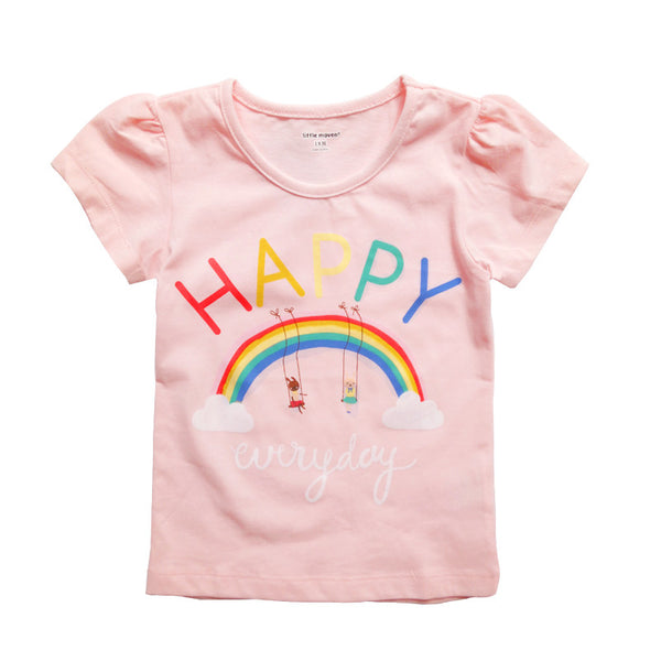 Happy Everyday Pink Girls T-Shirt