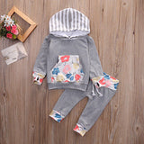 Hooded Floral Sweatshirt And Pants