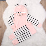 2 Pcs Pink Hoodie & Striped Pants Outfit
