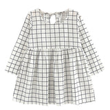 White & Black Fine Line Grid Casual Dress