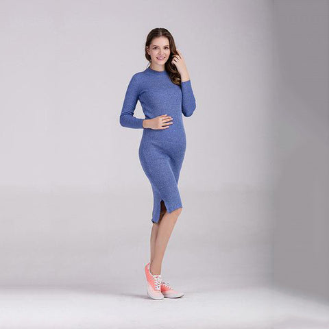 Knitted Long Sleeve Maternity Dress