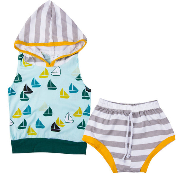 Hooded Boat Sweatshirt And Short  Set