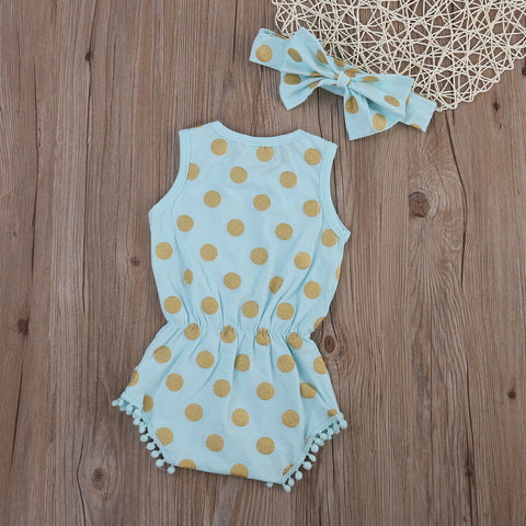 2 Pcs Gold Dots Romper & Headband