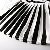 Black And White Stripe Pleated Dress