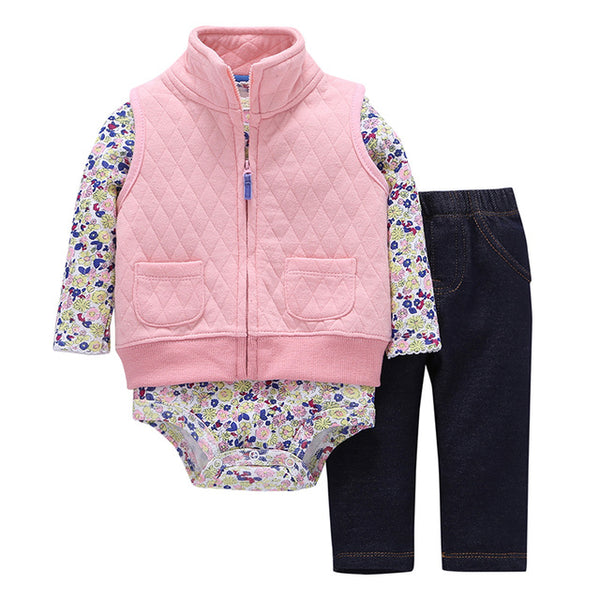 Pretty in Pink Flowers Warm Coat, Onesie & Pants Set