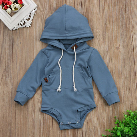 Blue Grey Hooded Onesie Romper
