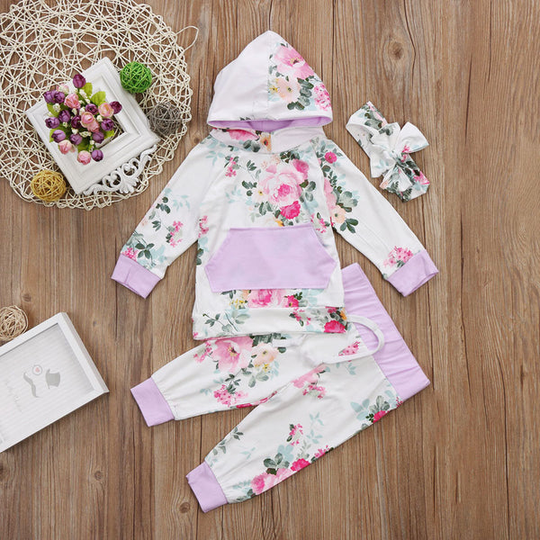 Lot of Flowers Hooded Top, Pants & Headband Outfit