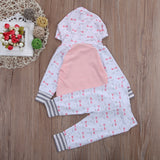2 Pcs Little Bow Hooded Top & Pants Outfit