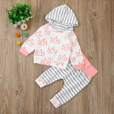 Crown Print Hooded Top & Pants Set