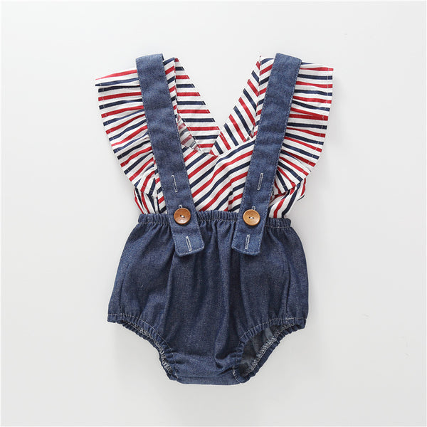Red White And Blue Denim Overall 2 Pcs Outfit