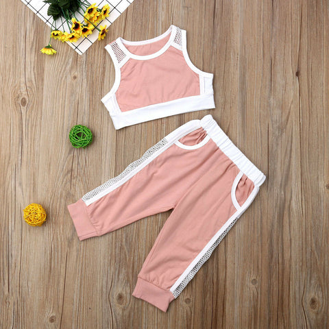 Pink Sports Vest Tank Tops & Long Pants Outfit
