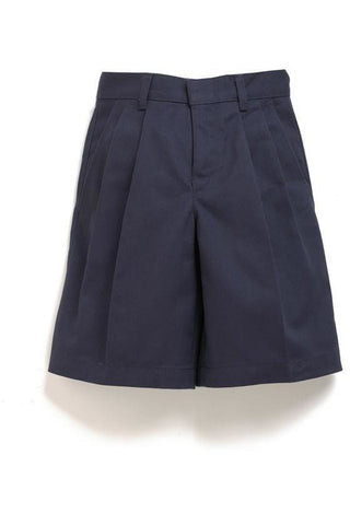 Boys Premium Label Navy Pleated Shorts - RC Uniforms