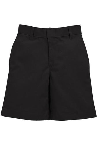 Boys Premium Label Black Flat Front Shorts - RC Uniforms