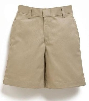 Boys Premium Label Khaki Flat Front Shorts - RC Uniforms