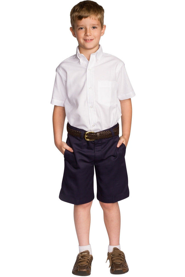 Boys Premium Label Navy Flat Front Shorts - RC Uniforms
