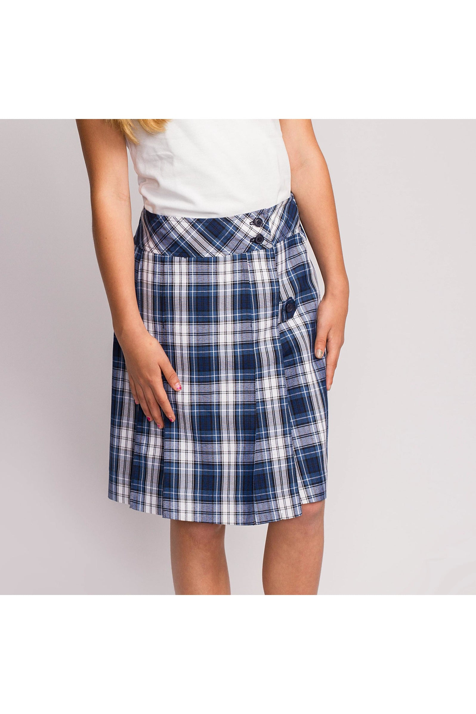 Blue Plaid Mock Wrap Skirt - RC Uniforms