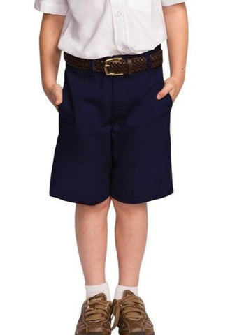 Boys Navy Flat Front Shorts - RC Uniforms