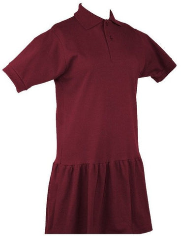 RC Uniforms Burgundy Short Sleeve Polo Dress