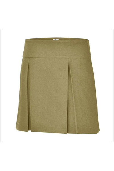 RC Uniforms Solid Khaki Flat Back Two-Pleat Skirt