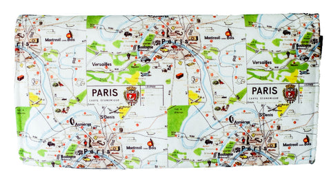 Paris City Map Clutch Wallet