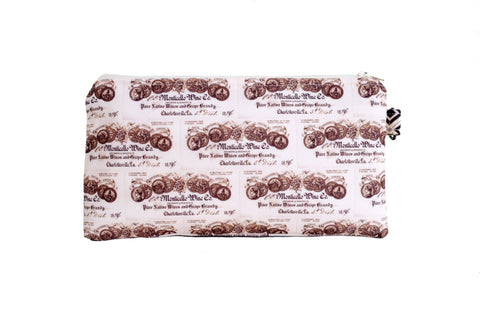 Wine Label Zippered Pouch