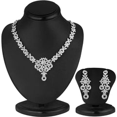 0058 Sukkhi Classy Rhodium plated AD Stone Necklace Set