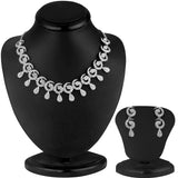 0051 Sukkhi Glimmery Rhodium plated AD Stone Necklace Set