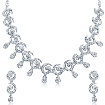 Sukkhi Glimmery Rhodium plated AD Stone Necklace Set-3