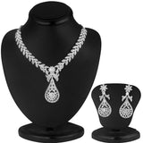 0047 Sukkhi Pleasing Rhodium plated AD Stone Necklace Set