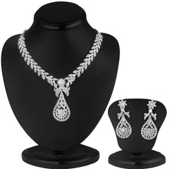 0058 Sukkhi Pleasing Rhodium plated AD Stone Necklace Set