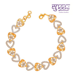 1349 Pissara Lavish Gold and Rhodium Plated CZ Bracelet