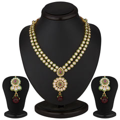 Sukkhi Exquitely Crafted Gold Plated CZ Two String Rodo Light Necklace Set