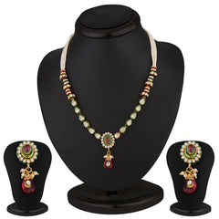 Sukkhi Glittery Gold Plated CZ Rodo Light Necklace Set